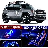 jeep renegade 2015-2017 led premium blue light interior package kit ( 13  pcs )