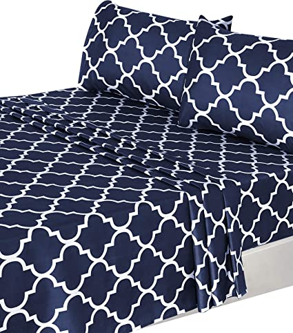 Amazon Com Utopia Bedding 4 Piece Bed Sheet Set Queen Navy 1 Flat Sheet 1 Fitted Sheet And 2 Pillow Cases Home Kitchen