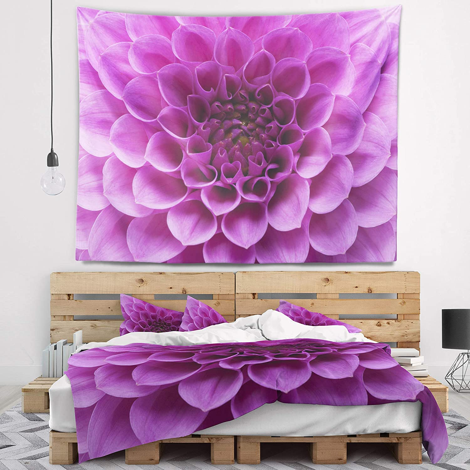 39 in Created On Lightweight Polyester Fabric Designart TAP12630-39-32  Large Light Purple Flower and Petals Floral Blanket D/écor Art for Home and Office Wall Tapestry Medium x 32 in