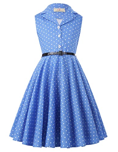 Vintage Style Children's Clothing: Girls, Boys, Baby, Toddler Girls Retro Sleeveless Swing Dresses with Belt $26.99 AT vintagedancer.com