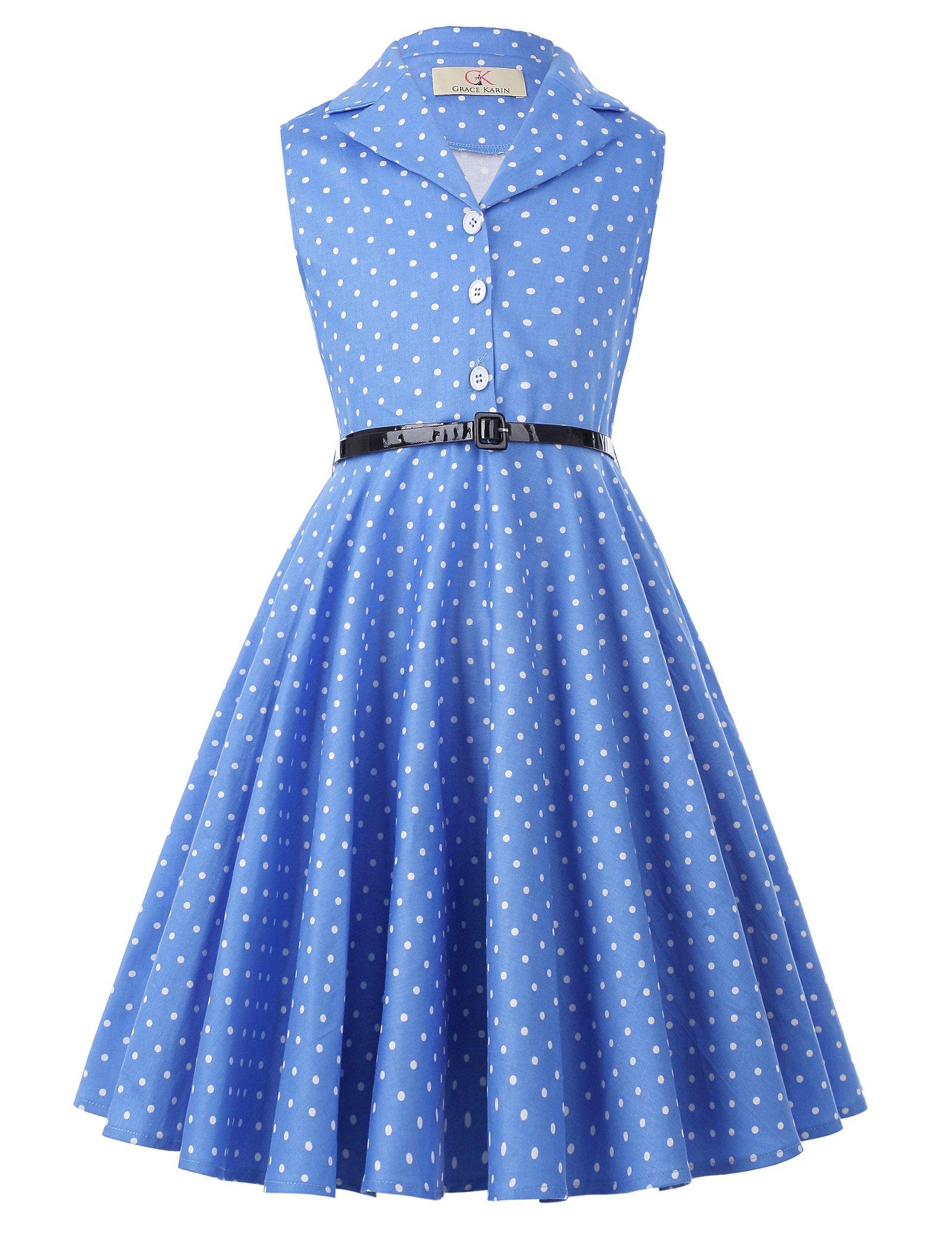 Polk Dot Girl Sleeveless Vintage Print Casual Dresses 11yrs CL9000-4