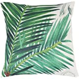 Exoticbuy Nature Leaves Print Home Decal Sofa Pillowcase Square Linen Cushion Cover (1)