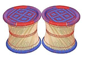 Ananya Creations Cane Wood Stool (Multicolour) - Set of 2