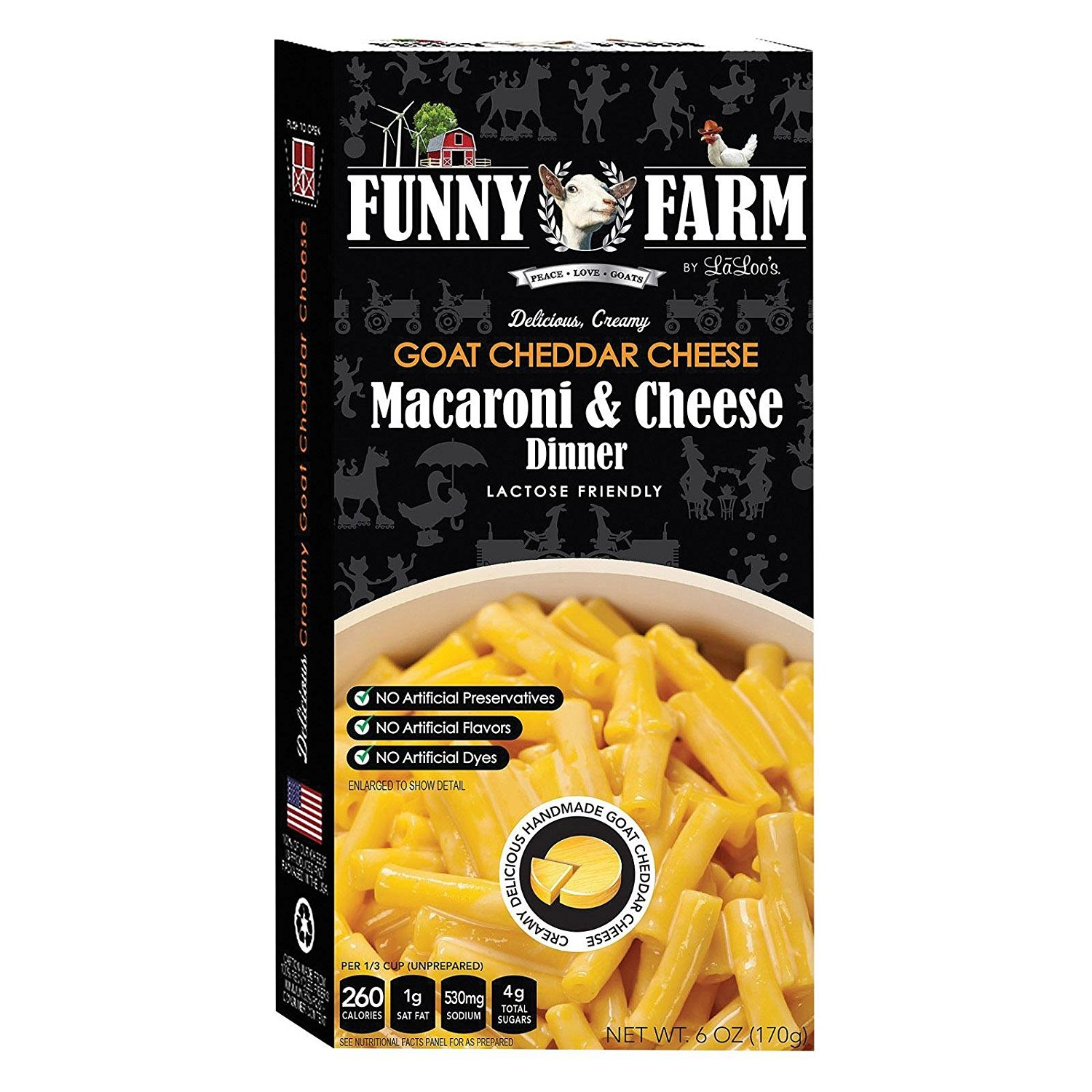 FUNNY FARM, MAC N CHS, GOAT CHS, GF, Pack of 12, Size 6 OZ - No Artificial Ingredients Gluten Free Wheat Free