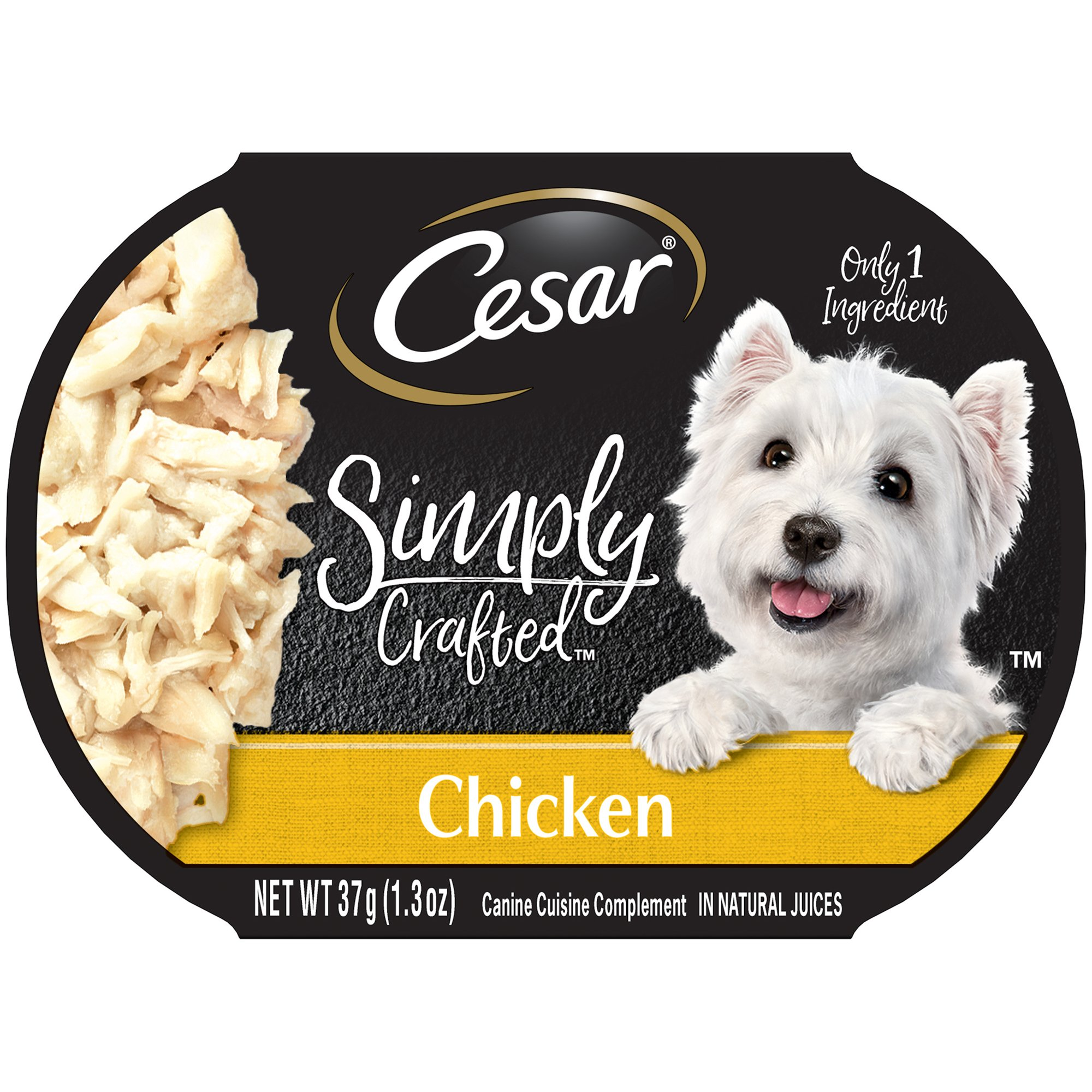 Cesar Simply Crafted Adult Wet Dog Food Cuisine Complement, Chicken, (Pack Of 10) 1.3 Oz. Tub by Cesar