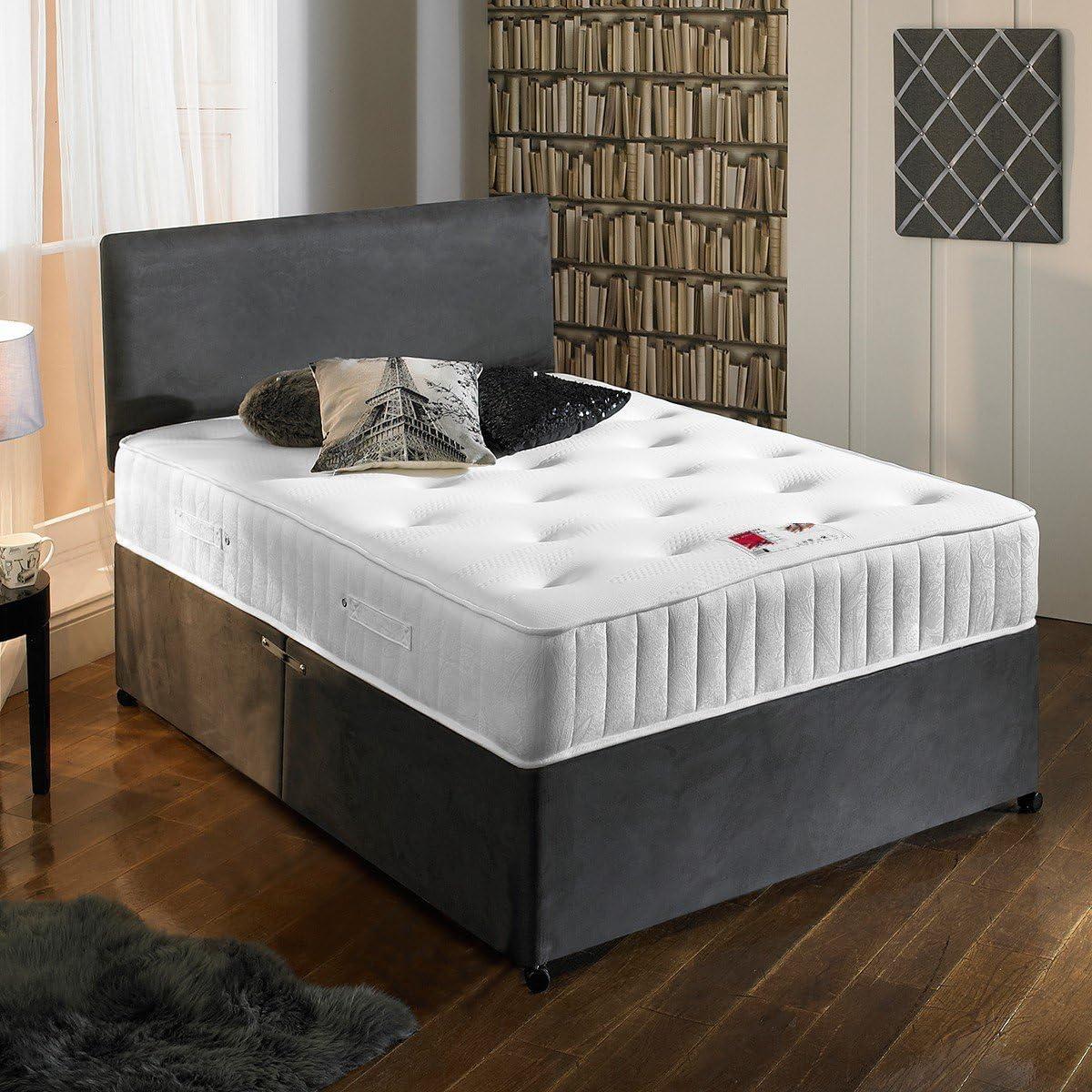 Somier de ante con colchón capitoné ortopédico, color gris carbón, incluye dos cajones y cabecero de regalo, ante, gris, doble pequeña