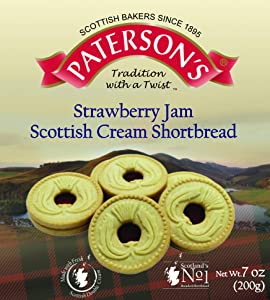Paterson's Strawberry Jam Scottish Cream Shortbread 200g, 7 oz, Made with Fresh Scottish Double Cream & Strawberry Jam Filling, Strawberry Shortbread Cookies, Strawberry Cookies, (Pack of 1)