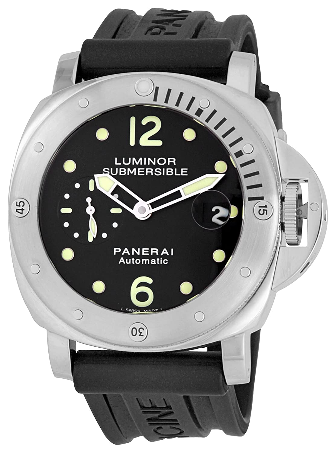 a6ac088aa62 Amazon.com  Panerai Men s M00024 Luminor Submersible Stainless Steel Watch   Watches