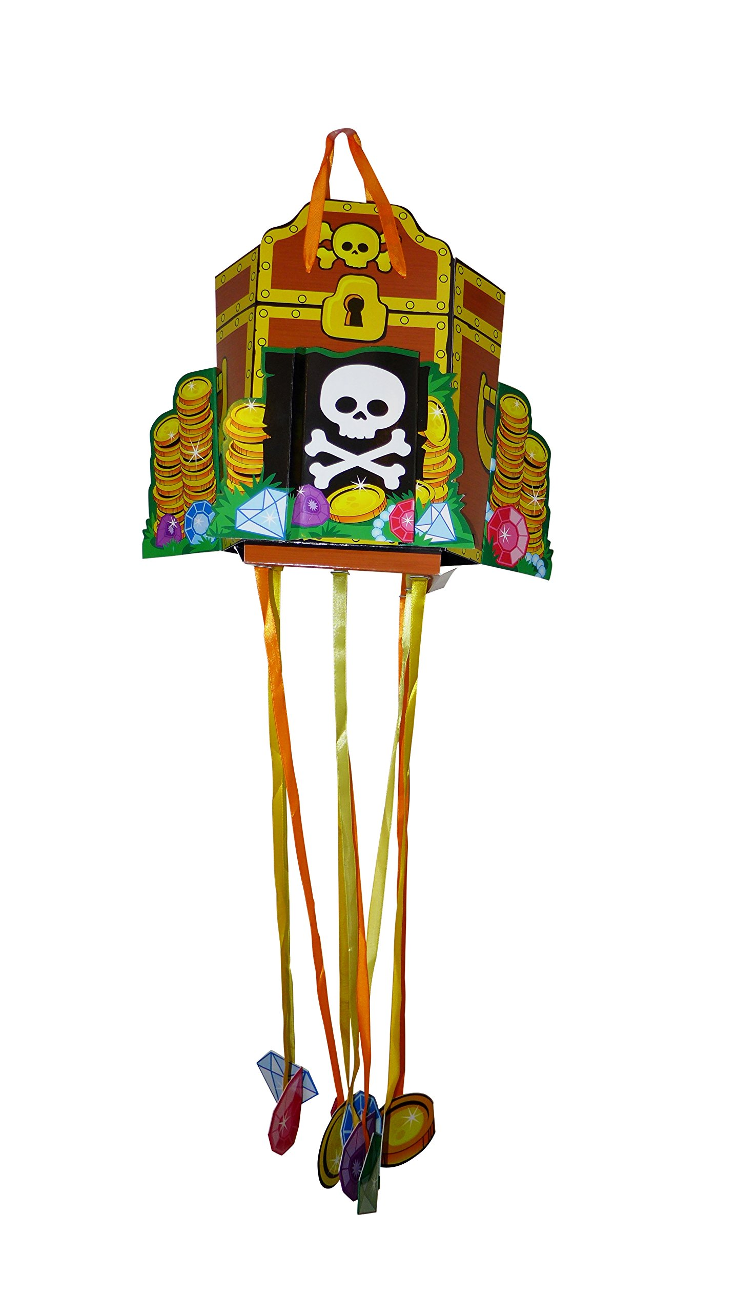 Cardstock Pirate Treasure Pinata (Size: 11.6'' x 9.6'' x 5.9'', Capacity: 2 Pounds Candy)   Perfect For Pirate Theme Party Supplies by J&J's ToyScape