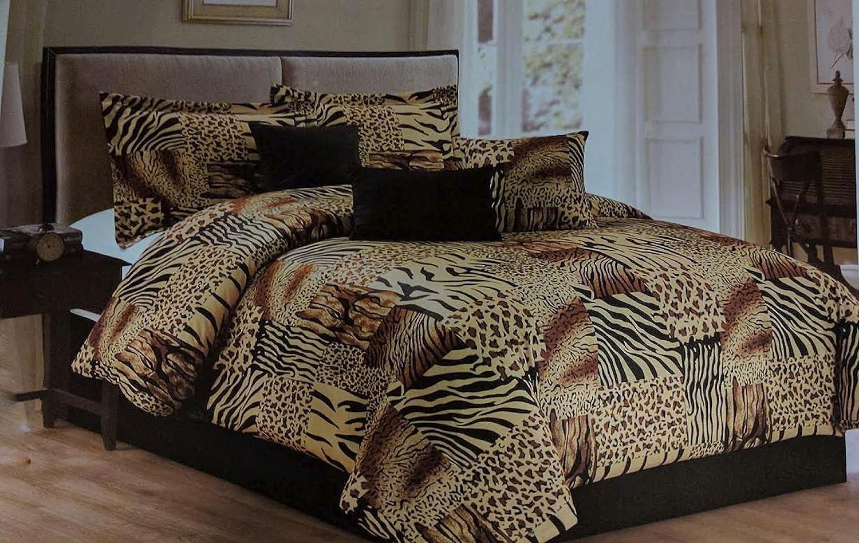 Queen Comforter Sets.Legacy Decor 7 Pc Multi Animal Print Black Brown Tan Microfur Comforter Set California King Size Comforter Set