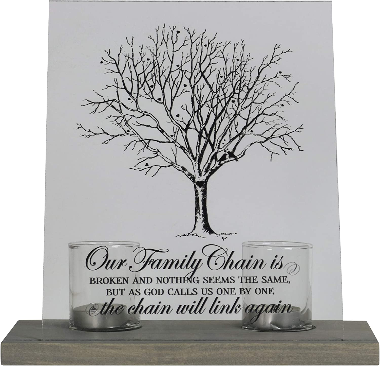 LifeSong Milestones Personalized Memorial Votive Candle Holder with 8x10 Acylic Sign in Remembrance Loss of Loved One with Wooden Base Condolence Bereavement Gift Our Family Chain