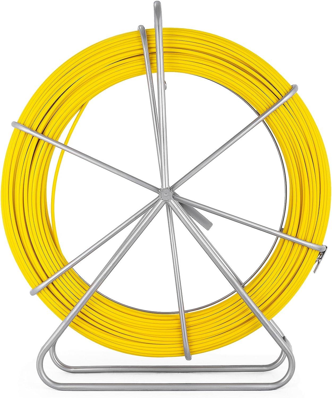 Hopopular 130m Fish Tape Fiberglass Cable Wheel 304 Stainless Steel Fish Tape Fiberglass 6MM 425FT Duct Rodder