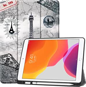 """New iPad 10.2 Case with Pencil Holder, Premium Folio Slim Fit Smart Shell, Trifold Stand Shockproof Soft TPU Back Cover, Auto Sleep/Wake Function for iPad 7th Generation 10.2"""" 2019 (4-Tower)"""
