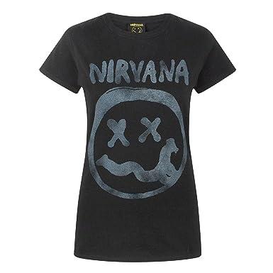 e84ed279 Nirvana Womens/Ladies Smiley Logo T-Shirt: Amazon.co.uk: Clothing