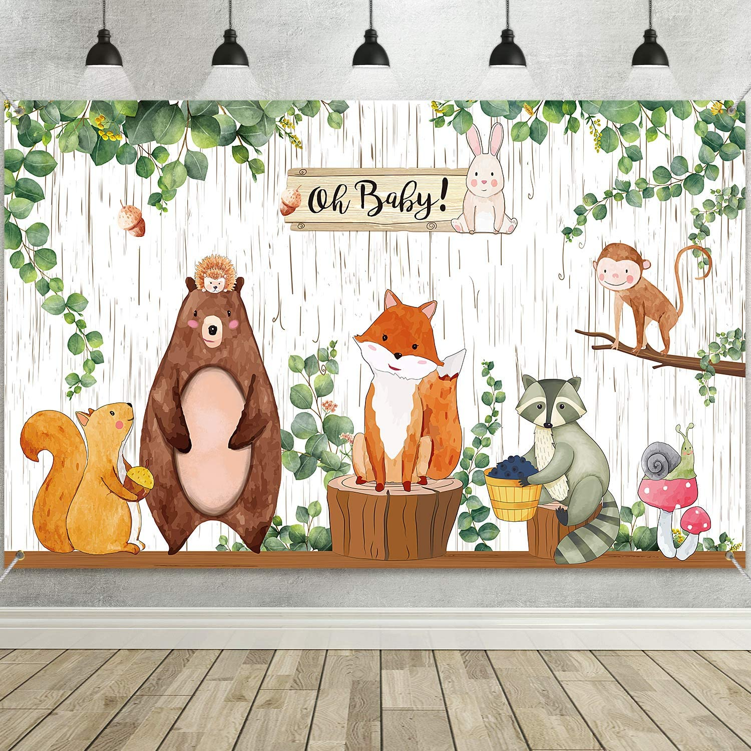Woodland Baby Shower Backdrop Banner, Large Fabric Jungle Animal Birthday Party Decorations Woodland Creatures Forest Background for Boy or Girl Welcome Party, 72.8 x 43.3 Inch
