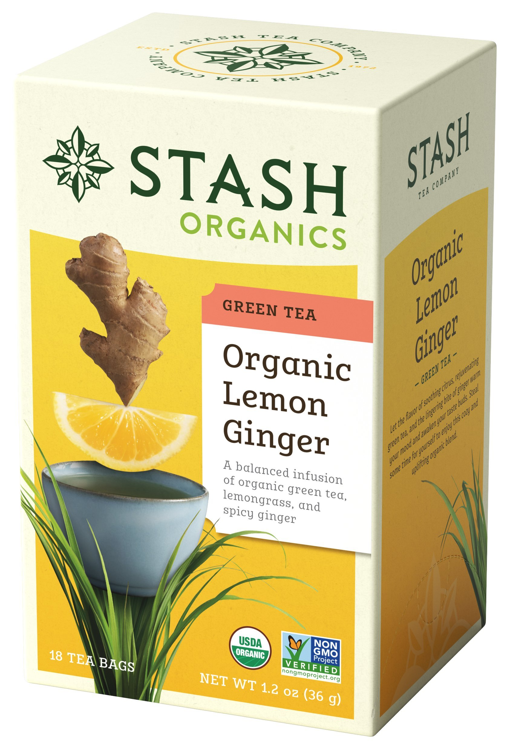 Stash Tea Organic Lemon Ginger Green Tea ,Individual Spiced Green Tea Bags for Use in Teapots Mugs or Teacups, 18 Count, Pack of 6 by Stash Tea