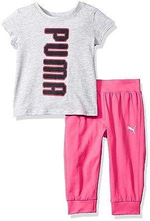 a9451a11146a65 Amazon.com  PUMA Girls  2 Piece Tee   Capri Joggers Set  Clothing