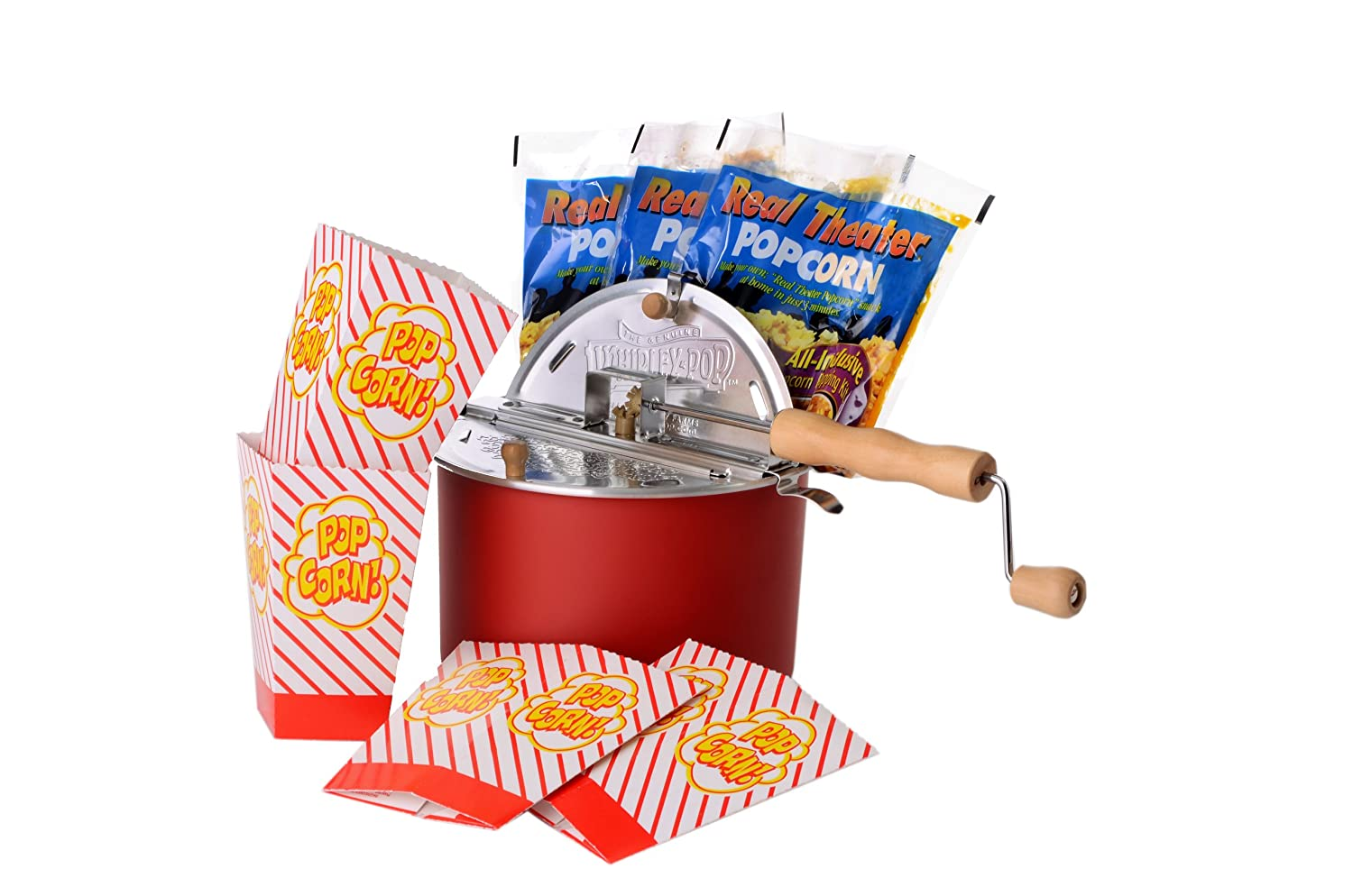The Original Whirley Pop Stovetop Popcorn Popper Popcorn Set