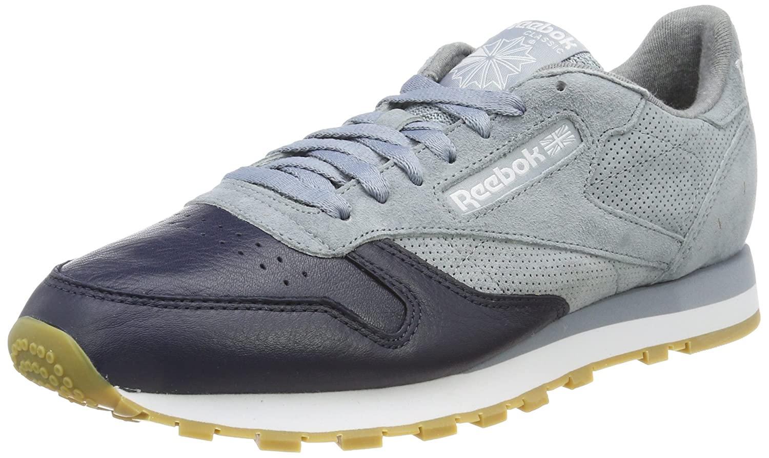 Reebok Herren Classic Leather LS Sneaker  45 EU|Grau (Meteor Grey/Collegiate Navy/Cloud Grey-gum)