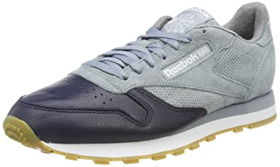 Reebok Herren Classic Leather LS Sneaker  40 EUGrau (Meteor Grey/Collegiate Navy/Cloud Grey gum)