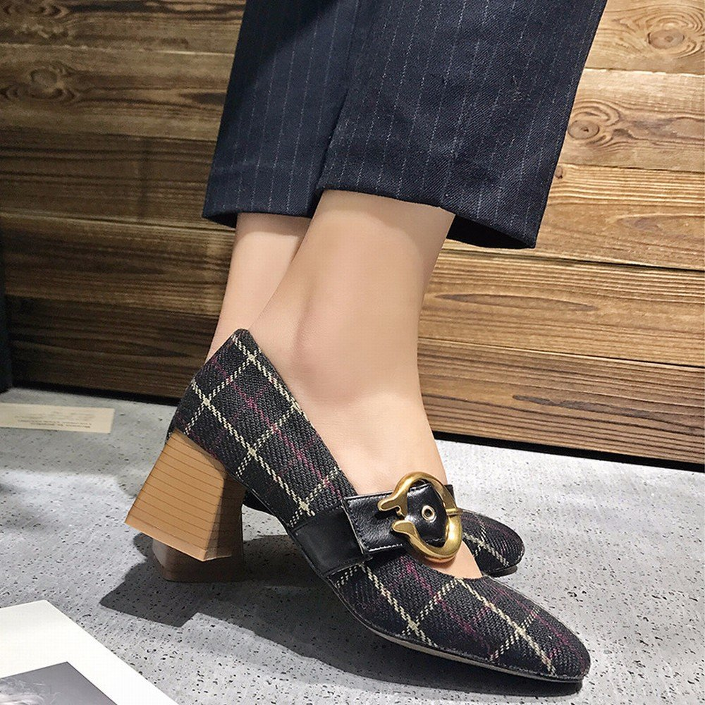 DHG Frühling Einzelne Schuhe Flache Retro Mary Mary Mary Jane Schuhe mit Hohen Absätzen Frauen Erste Wort Schnalle Oma Schuhe Schwarz 39 01d428