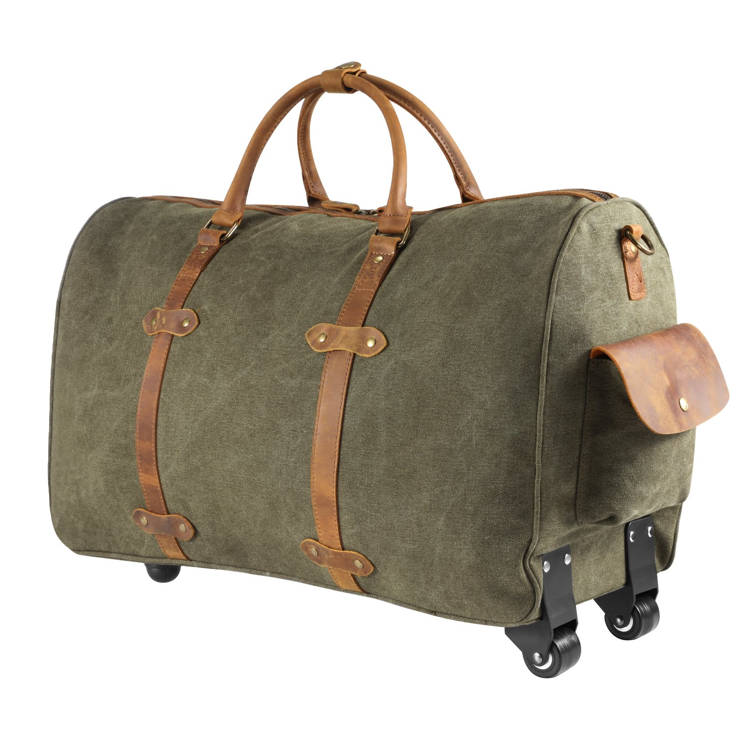 Kattee Rolling Duffle Bag with Wheels Canvas Travel Luggage Duffel Bag 50L (Army Green) by Kattee (Image #5)