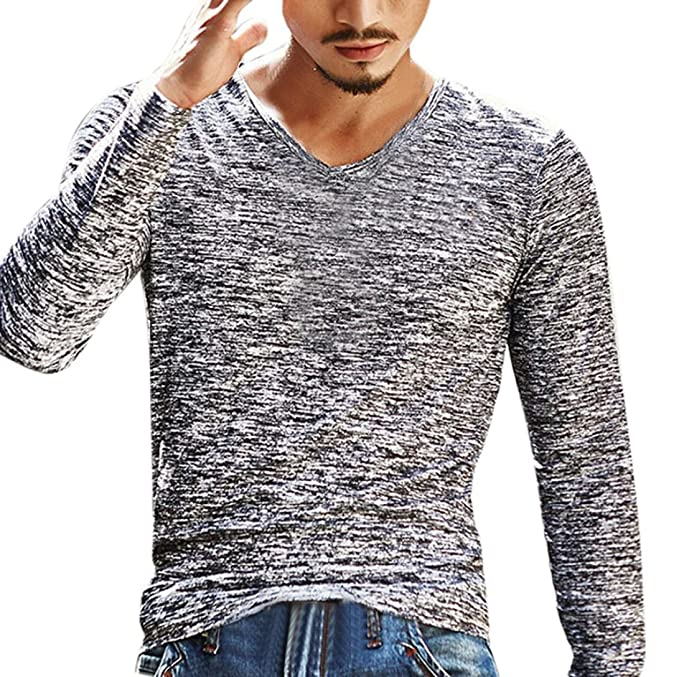 Naturazy-Camiseta Manga Larga De 2018 OtoñO para Hombre Moda Cuello Casual  Deporte Delgado Camisa BáSica Casual Blusa Top Hombres con Una Camiseta De  Cuerpo ... ba681f3a91492