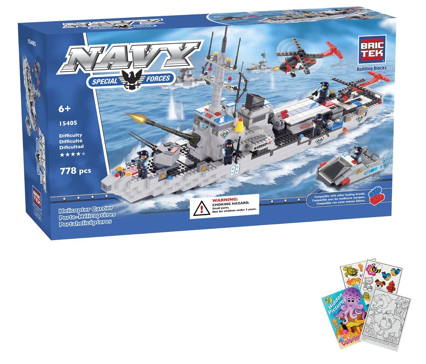 Amazon.com: BRICTEK Helicopter Carrier War Ship 778 pcs Building ...