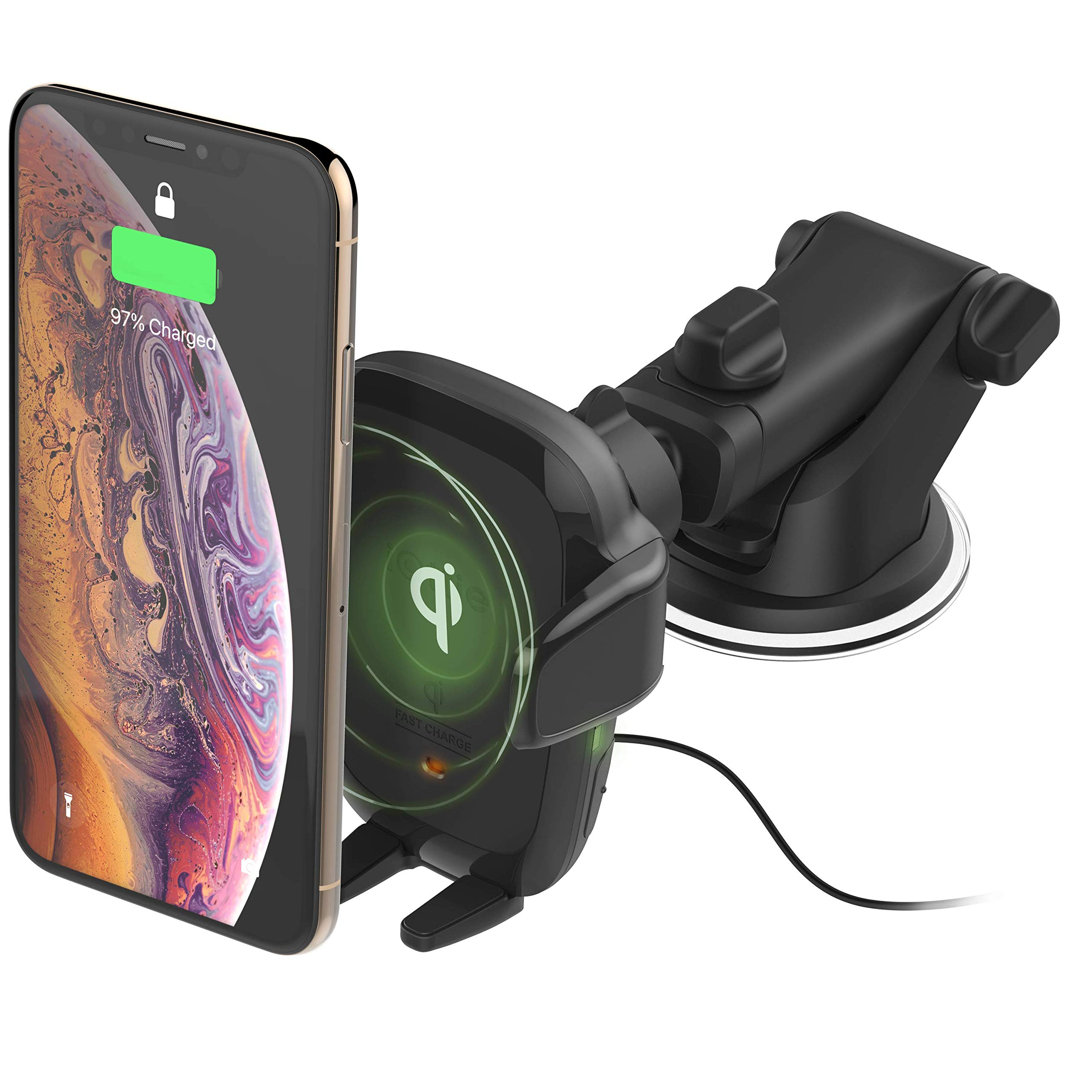 iOttie Auto Sense Automatic Clamping Qi Wireless Charging Dashboard Car Phone Mount, Car Charger || for iPhone, Samsung Galaxy, Huawei, LG, Smartphones by iOttie