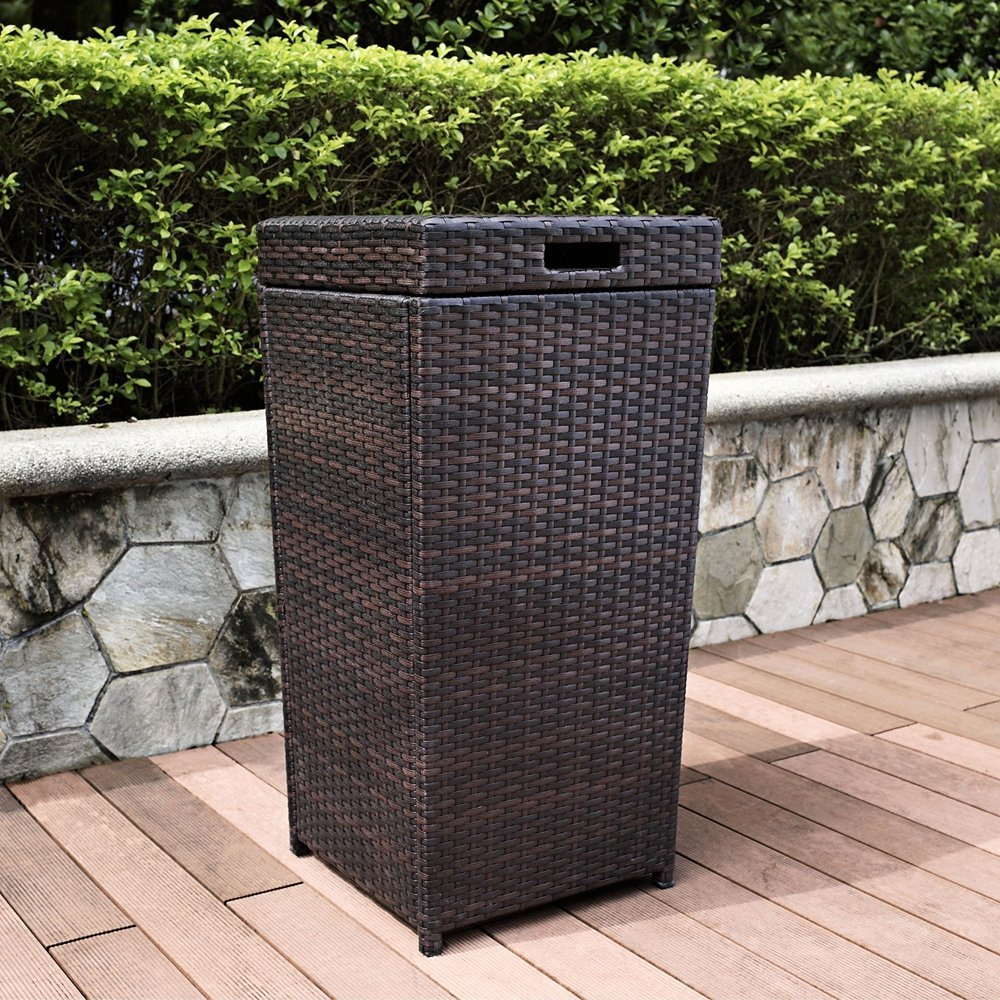 Superior Palm Harbor Outdoor Patio Hideaway Resin Wicker Trash Can Garbage Waste  Basket
