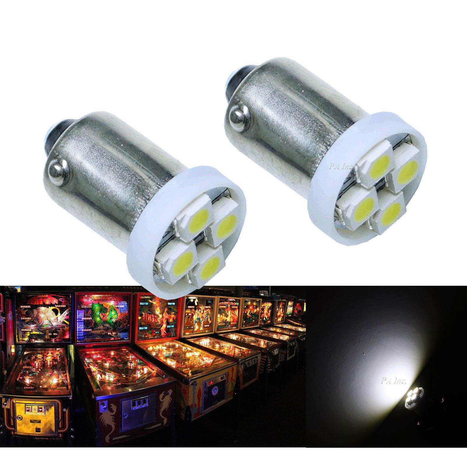 PA® 10PCS #1893 #44 #47 #756 #1847 BA9S 4SMD LED Wedge Pinball Machine Light Bulb White-6.3V