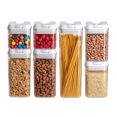 Wishbone Corner Airtight Food Storage Containers I Pantry Organization and Storage I No Brittle Polystyrene I Best Lids I 7 PC Set I Dishwasher Safe I BPA Free