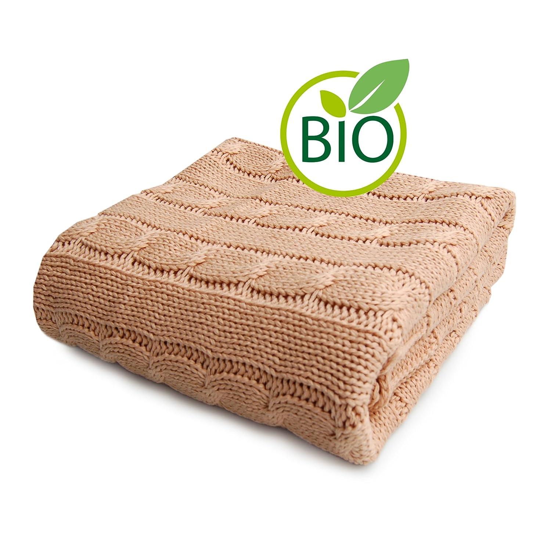 SonnenStrick 3009009 Babydecke//Kuscheldecke//Strickdecke 100 Prozent Bio Baumwolle mit Zopfmuster creme