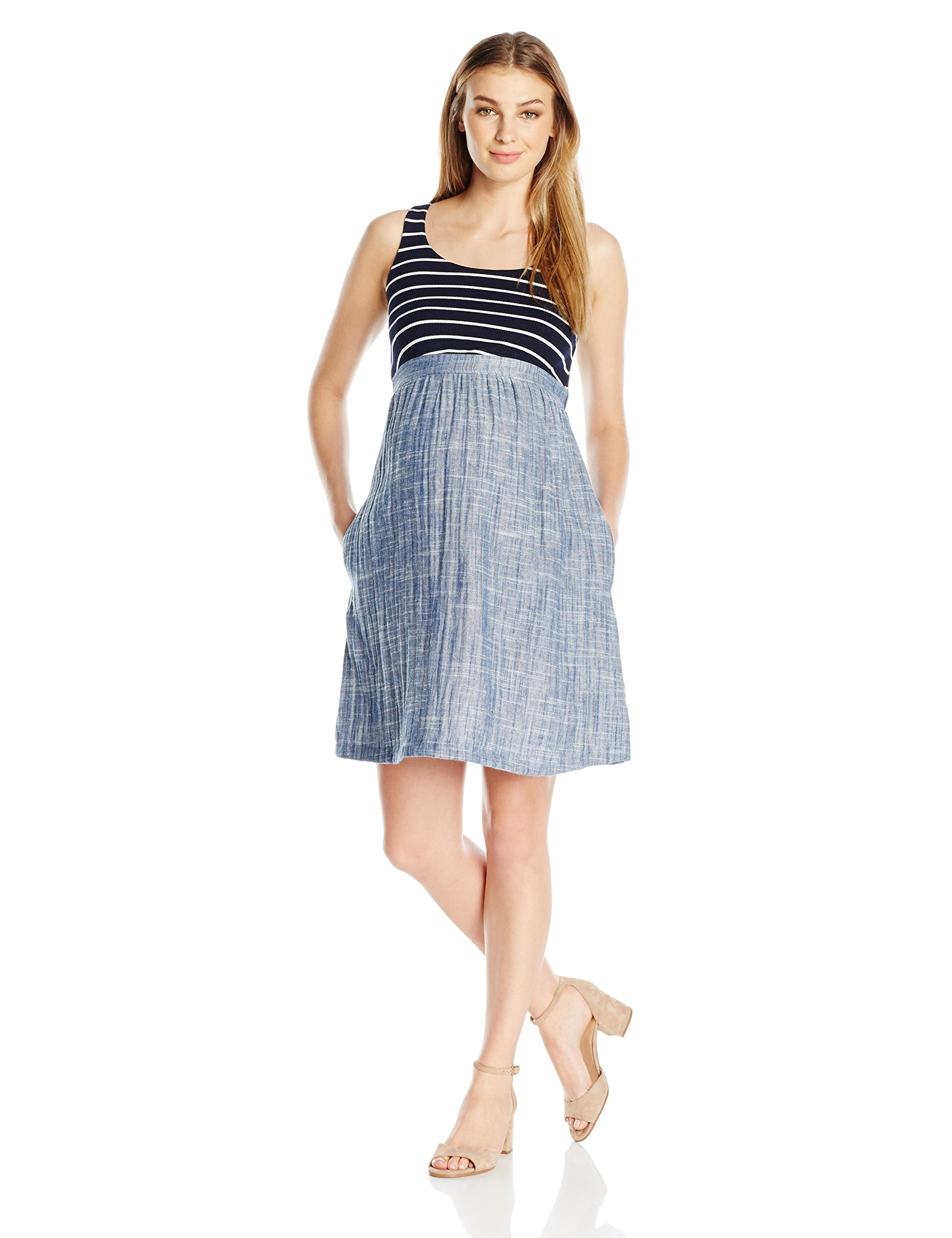 Maternal America Women's Maternity Empire Dress, Navy Stripes/Indigo Blue, L
