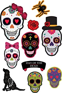 Sugar Skull Day of The Dead Party Decorations Includes 10 Cutouts 6 Skulls Rose Spider Dog Heavy Duty