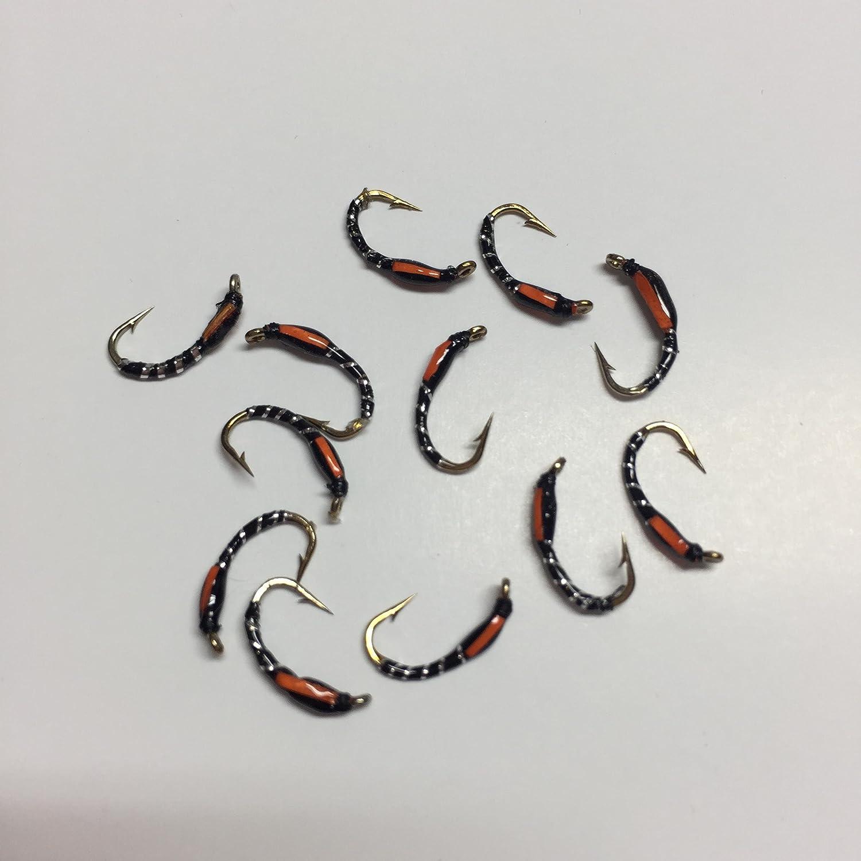 BestCity Fly Fishing Epoxy Buzzer Orange Cheeks Silver Holographic Black Pack of 12 Size 14#202C