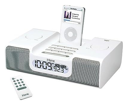 amazon com ihome ih6 clock radio for ipod white home audio theater rh amazon com iPod Nano 5th Generation iHome Clock Radio