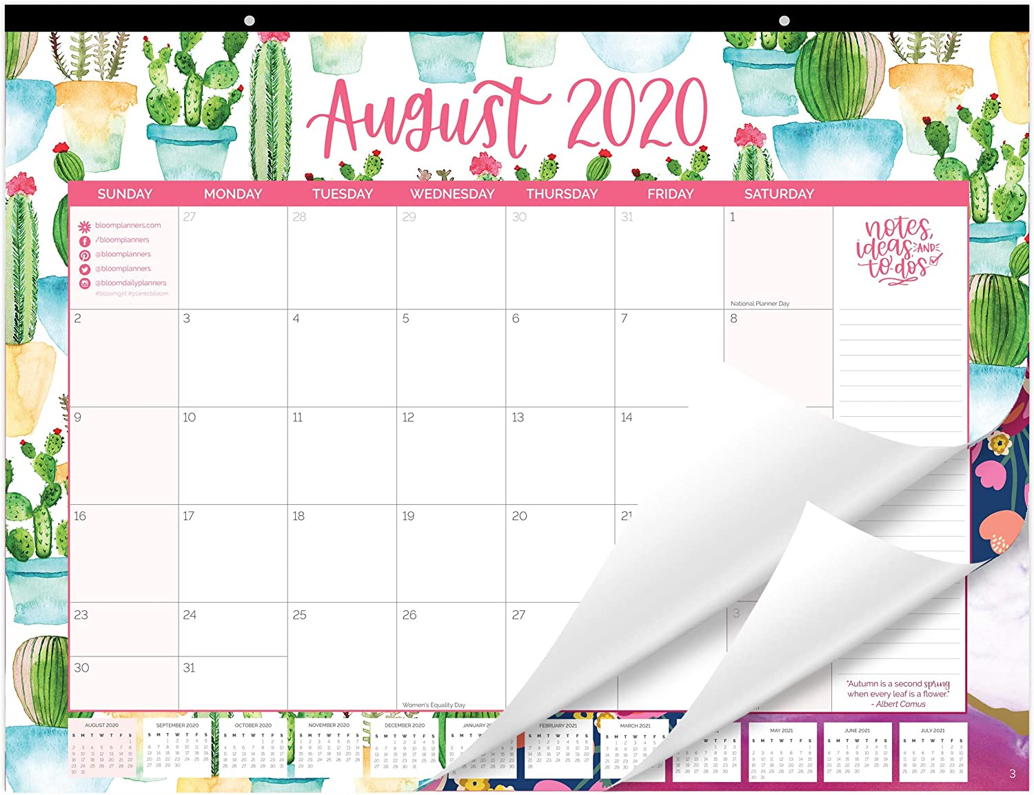 "bloom daily planners 2020-2021 Academic Year Desk/Wall Monthly Calendar Pad (August 2020 - July 2021) - Large 21"" x 16"" Hanging or Desktop Blotter - Seasonal Designs"