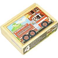 Melissa & Doug Rompecabezas de vehículos, en una caja, cuatro rompecabezas de madera, caja de almacenamiento de madera resistente, 20.32 cm alto x 15.24 cm ancho x 6.35 cm largo