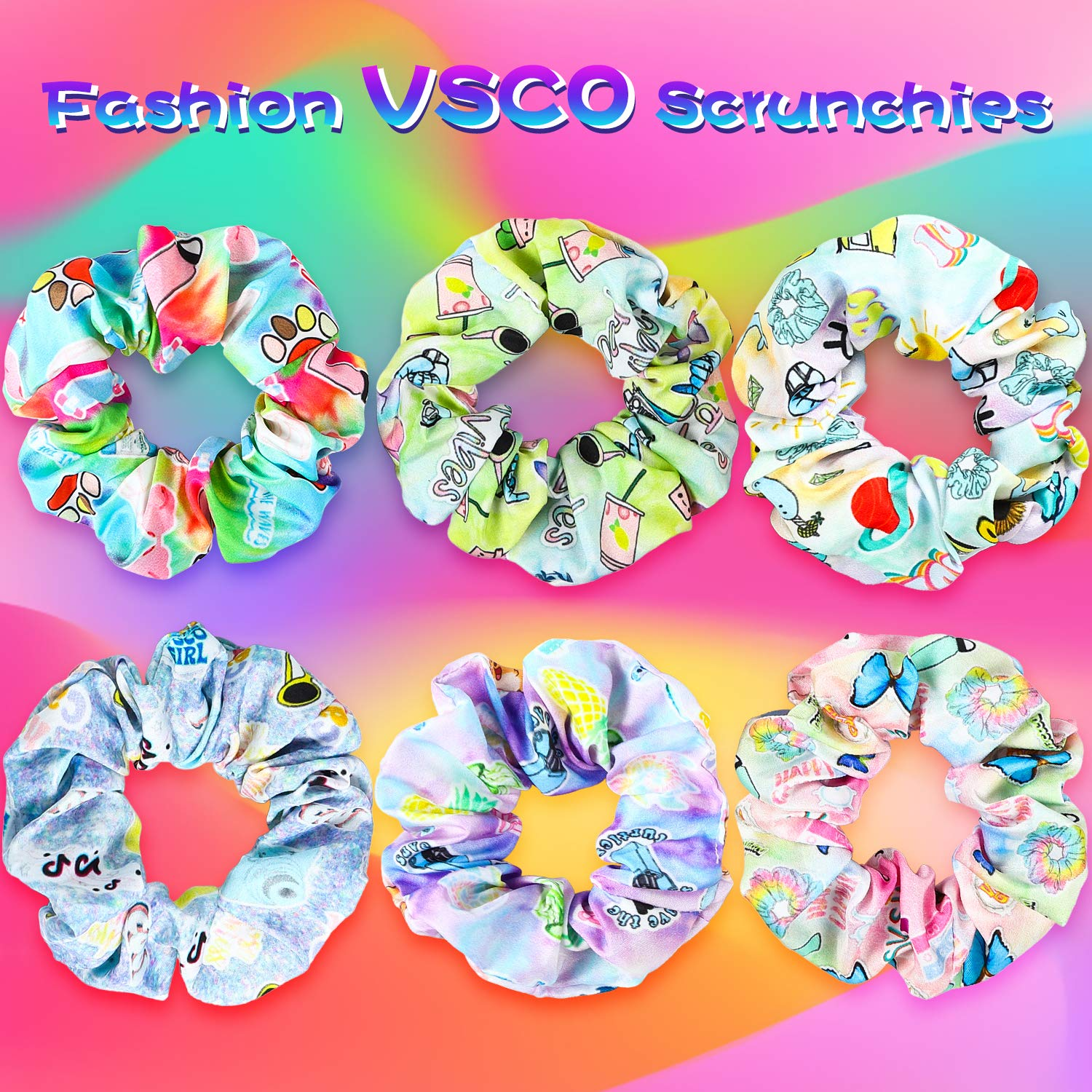 Hair tie vsco Cottagecore Cornflower Standard Size school Mint Green Chiffon Floral Print Scrunchie pony tail UpcycledRecycled Fabric