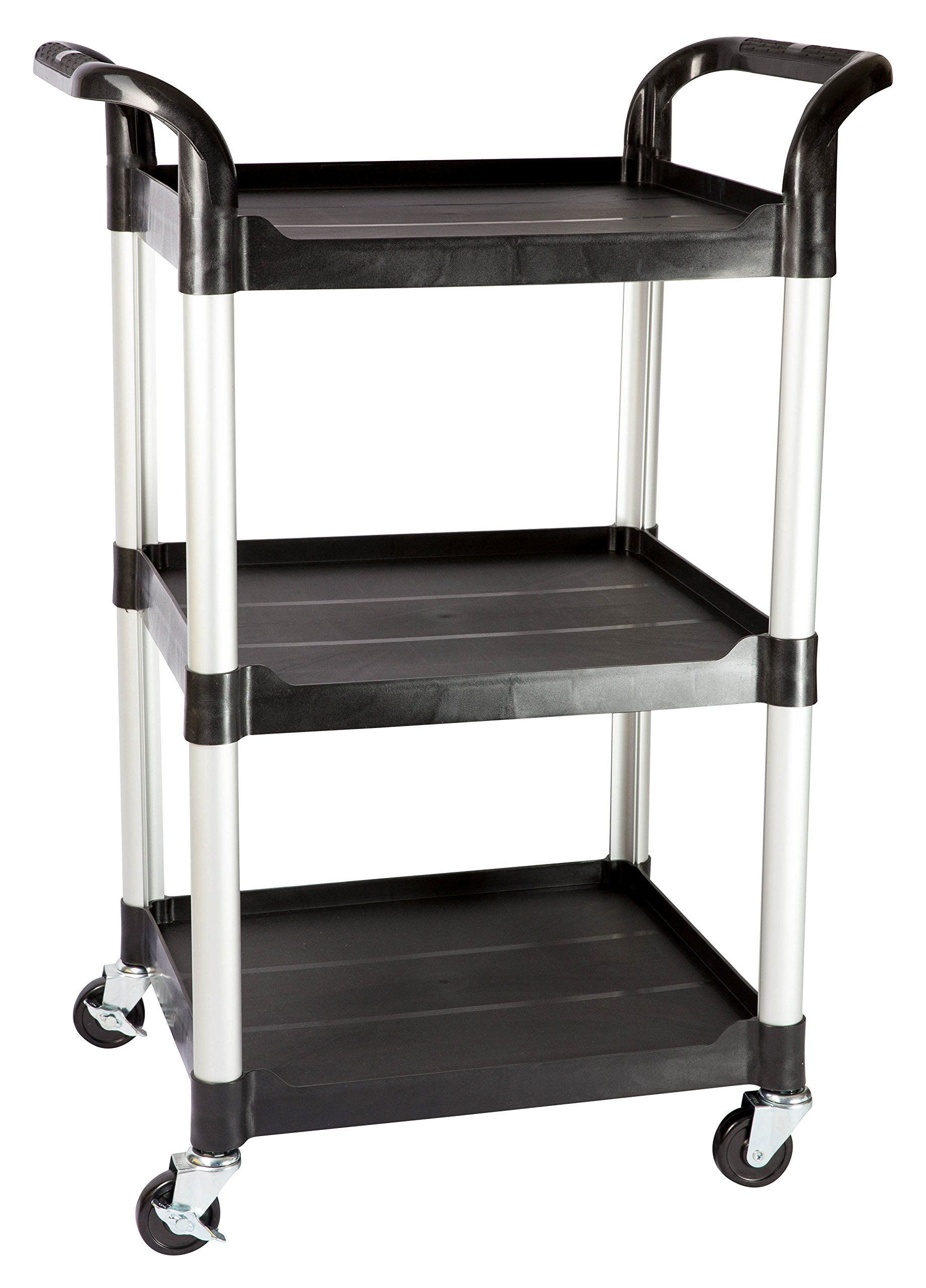 JaboEquip Compact-Size Multi-purposed Rolling Utility Service Carts 3 Shelf, for Lab, Catering and Hospitality-Black