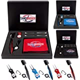 Sandbagger 4-in-1 Golf Cleaning Portable Kit | Golf Accessories Gift Set | Divot Repair Tool | Retractable Cleaning Brush | Microfiber Towel with Clip & Golf Tee | Magnetic Ball Marker