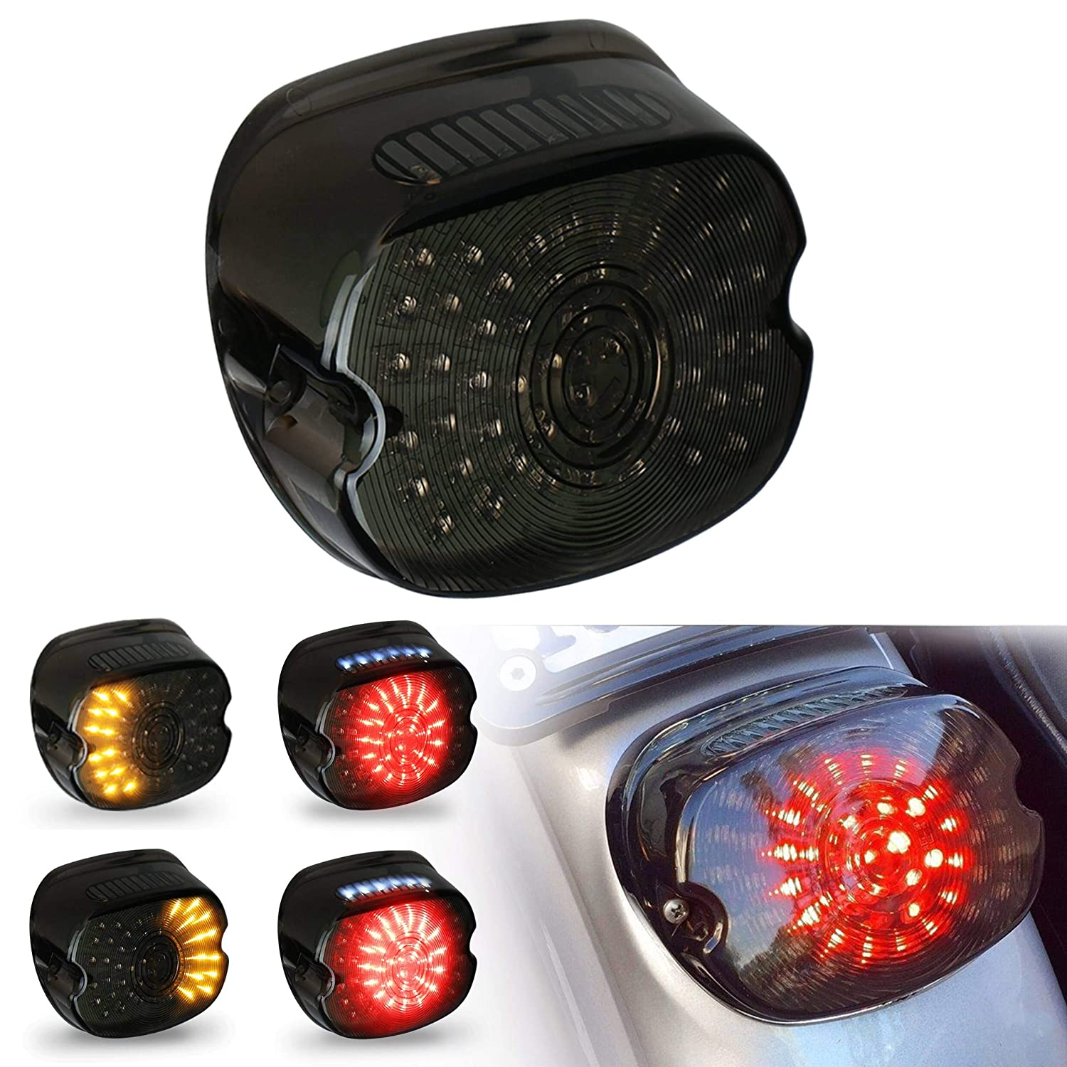 Smoked Harley Tail Light LED Rear Driving Braking Turn Signal Light for  1200 Sportster 883 Dyna Road King Electra Glides FLHTC