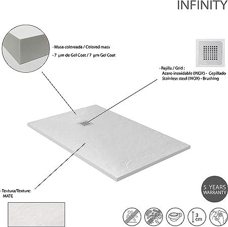 Todas Las Medidas Disponibles Blanco RAL 9003 Incluye Sif/ón y Rejilla Efecto Pizarra y Extraplano Crocket Plato de Ducha Resina Antideslizante Stone 80 x 120