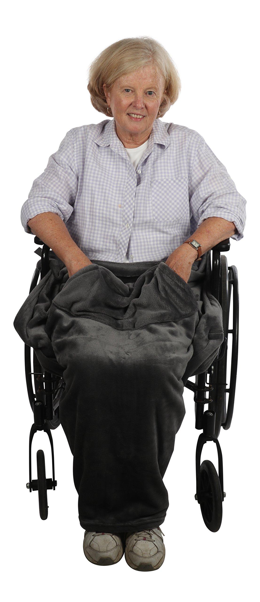 Lightweight Wheelchair Blanket, Warm Fleece, Fleece with Pockets (Grey)