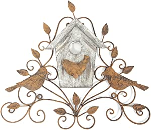 Metal & Wood Tree Wall Decor with Birds & House