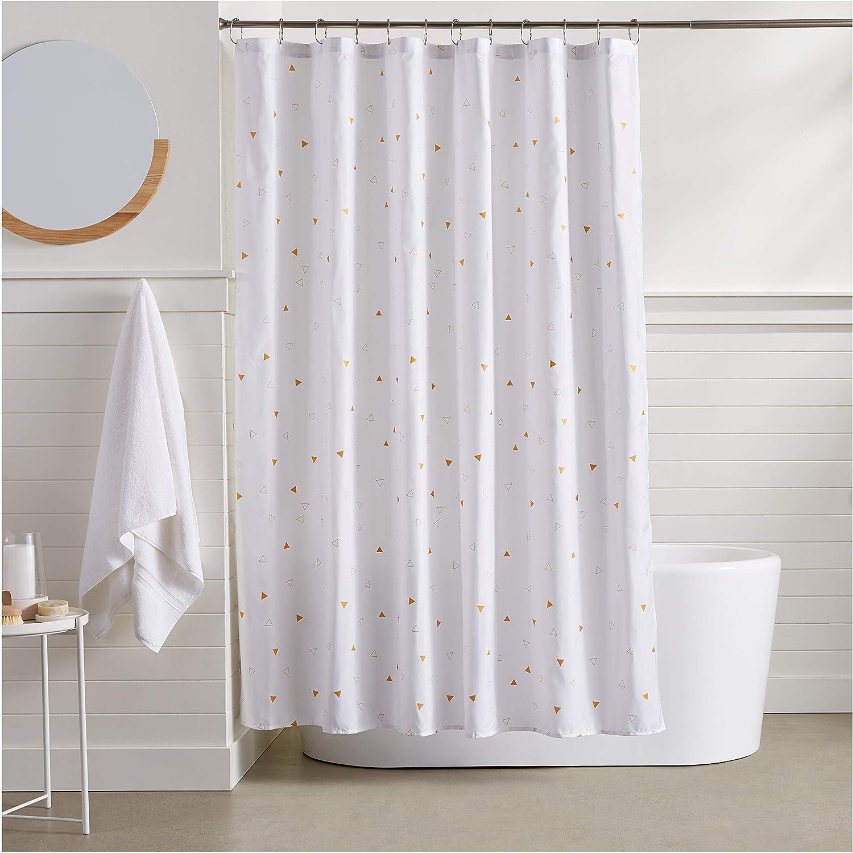 Amazon AmazonBasics Gold Foil Confetti Shower Curtain Home Kitchen