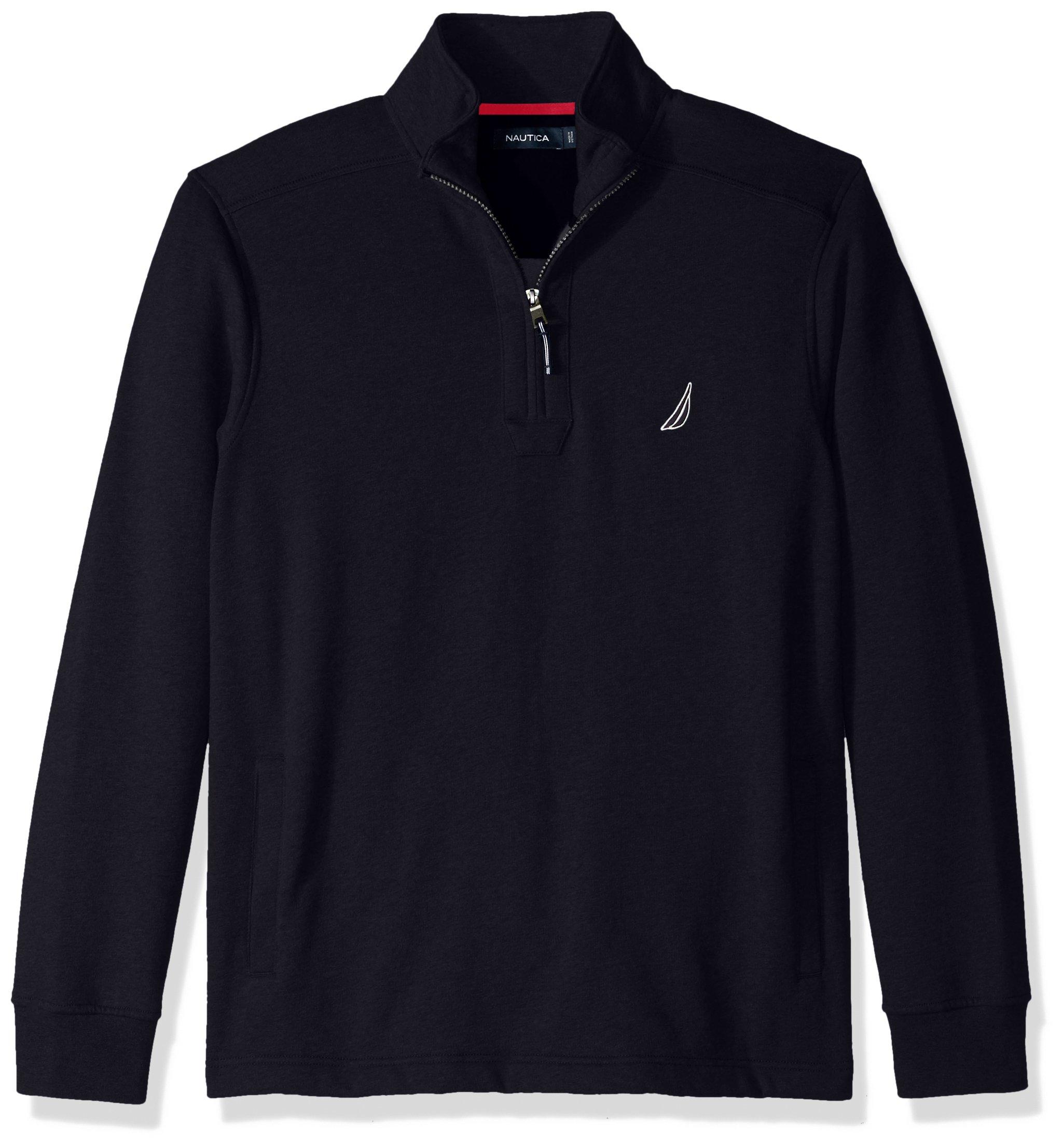 Nautica Men's Long Sleeve Half Zip Mock Neck Sueded Fleece Sweatshirt, True Navy, Small