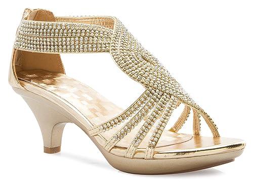3c96302297b0 OLIVIA K Women s Open Toe Strappy Rhinestone Dress Sandal Low Heel Wedding  Shoes