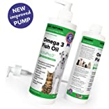 PURE OMEGA 3 for Cats and Dogs - LIQUID FISH OIL with VITAMIN-E - 16 oz with New Improved Pump - 100% Organic & Safe - Natural Supplement for Skin, Coat, Joint & Heart Health - Better than Salmon Oil